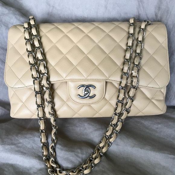 3f321b39cf6d CHANEL Handbags - Chanel Caviar Jumbo Double Flap Beige Clair
